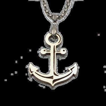 """Anker"" Halskette Maritim Holz Nuss Weiß 40mm"