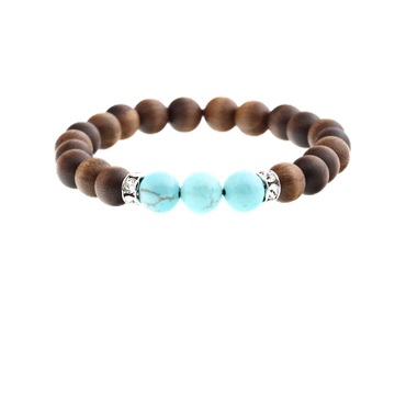 """Motivation"" Perlenarmband Energy Crystal Edelstein Türkis Holz Nuss"