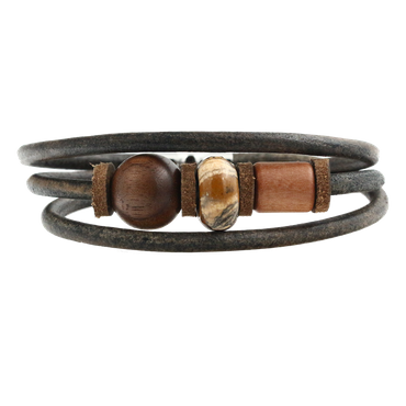 """Earth"" Lederarmband Indian Holz Apfel Nuss"