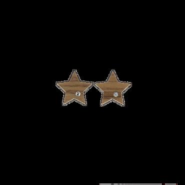 "[Set] ""Stern"" Halskette Ohrstecker Set Lumia Crystal Holz Nuss"