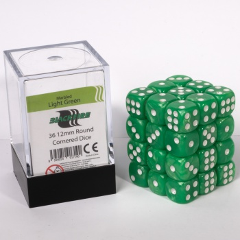 Blackfire Dice Cube 12mm D6 (36) - Marbled Light Green