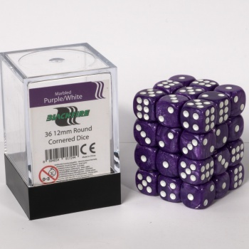 Blackfire Dice Cube 12mm D6 (36) - Marbled Purple/White