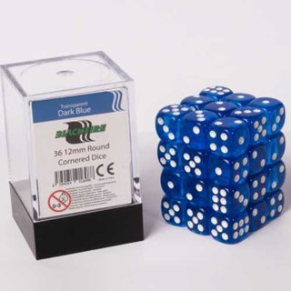 Blackfire Dice Cube 12mm D6 (36) - Transparent Dark Blue