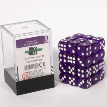 Blackfire Dice Cube 12mm D6 (36) - Transparent Dark Purple