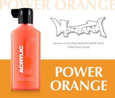 Montana Acrylic Refill 180ml  Power Orange