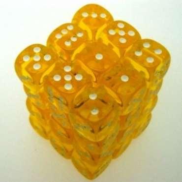 W6 Würfel-Box (36) 12mm transparent - gelb/weiß