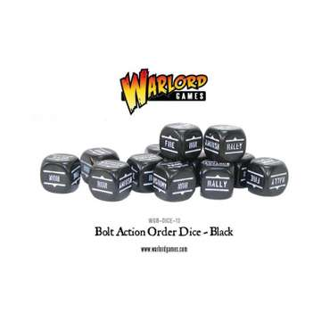 Order Dice (12) Black - Bolt Action