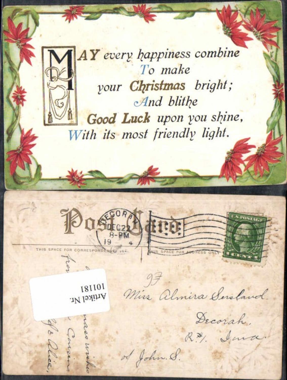 101181präge Litho Weihnachten Spruch Englisch Blumen