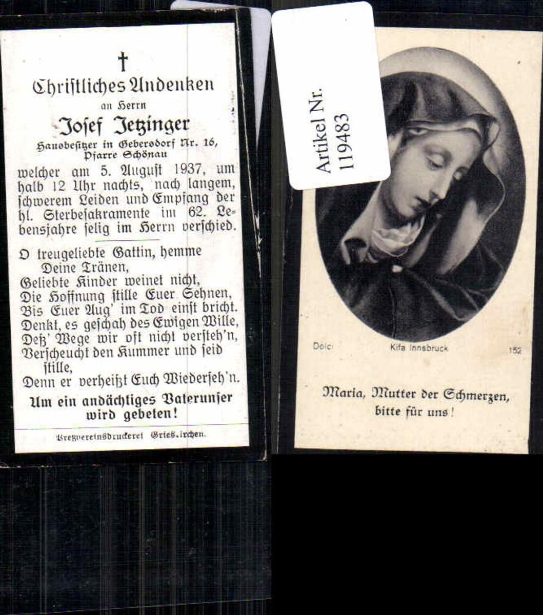 119483,Sterbebild Andachtsbild Heiligenbildchen Jetzinger Gedersdorf Schönau Grieskirchen 1937 günstig online kaufen