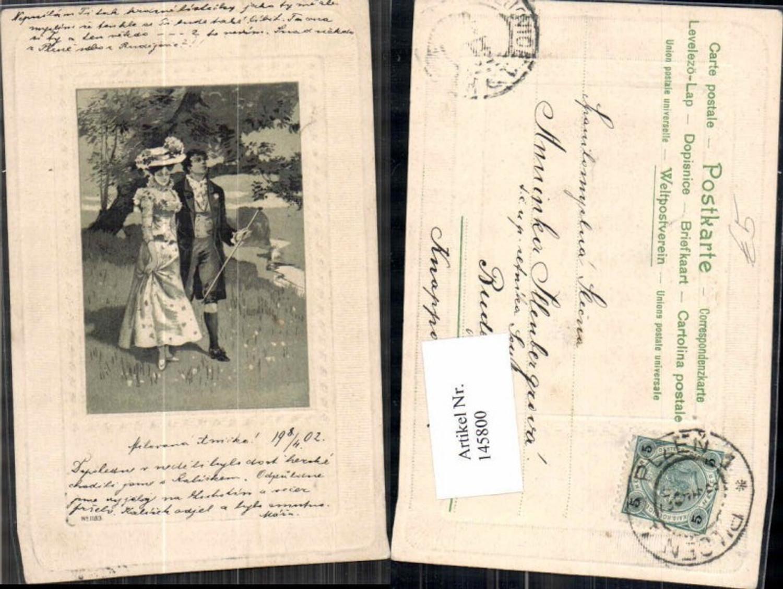 145800,Präge AK Frau m. Hut 1902 Paar  günstig online kaufen