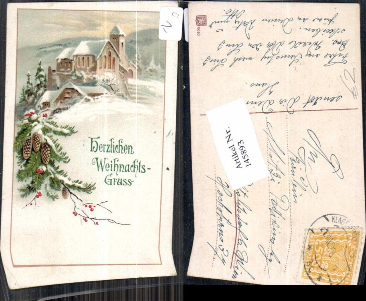 145893,Weihnachten Litho Tannenzapfen Tannenzweige Kirche  günstig online kaufen