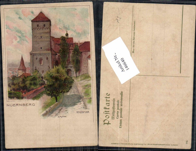 146640,Litho Nürnberg Heidenturm sign. K. Mutter pub Velten 116  günstig online kaufen