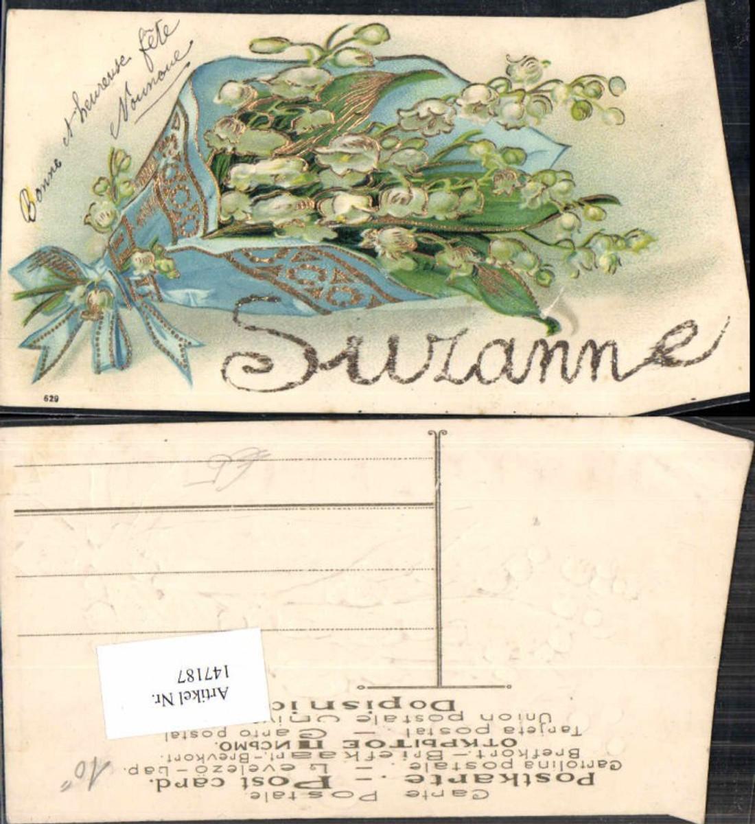 147187,Präge Litho Blumen Namenstag Suzanne  günstig online kaufen