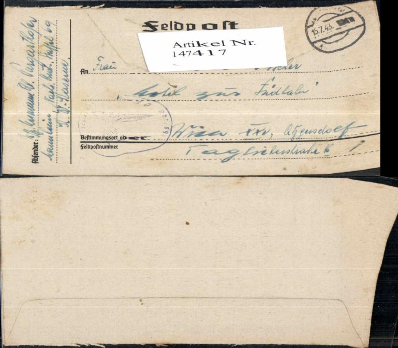 147417,WW2 WK2 Feldpost 1944 Purgarthofer an Fam. Rosa Fischer Wien Atzgersdorf günstig online kaufen