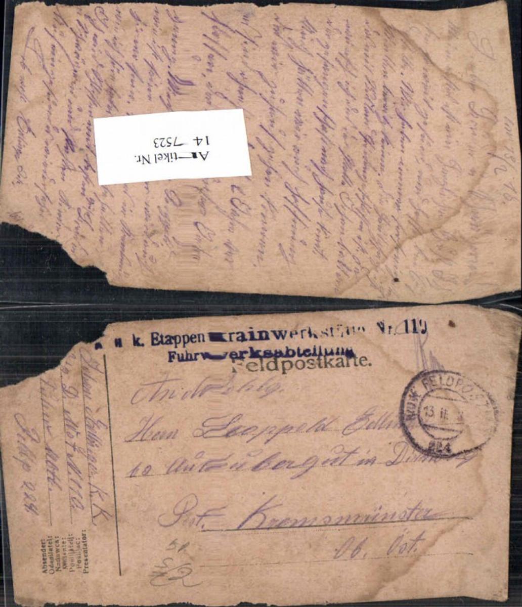 147523,K.K. Feldpost 224 Etappentrainwerkstätte 110 Fuhrwerksabteilung n. Kremsmünster  günstig online kaufen