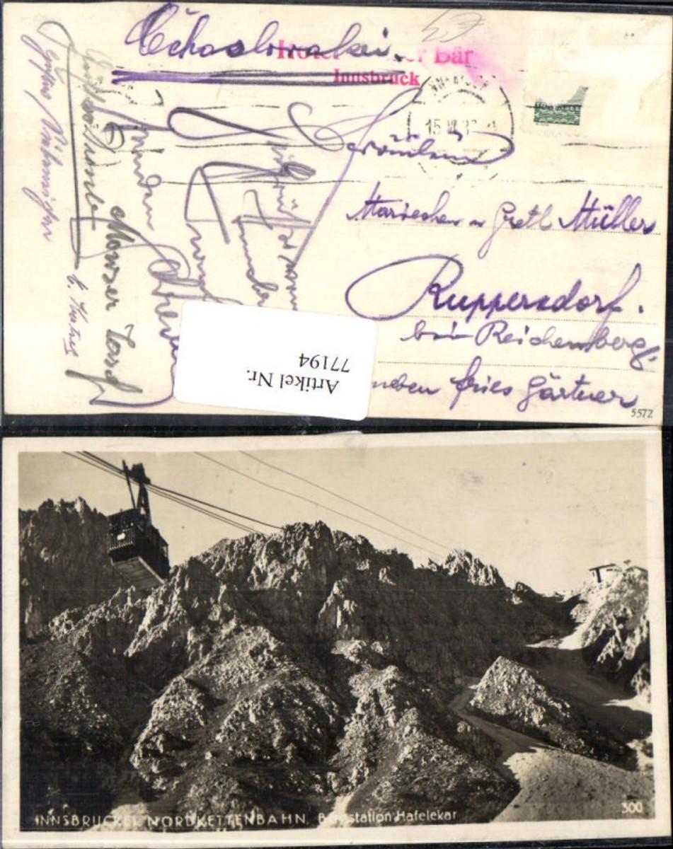 77194,Innsbruck Nordkettenbahn Bergstation Hafelekar Solbad HallDetail Seilbahn Gondel 1933  günstig online kaufen