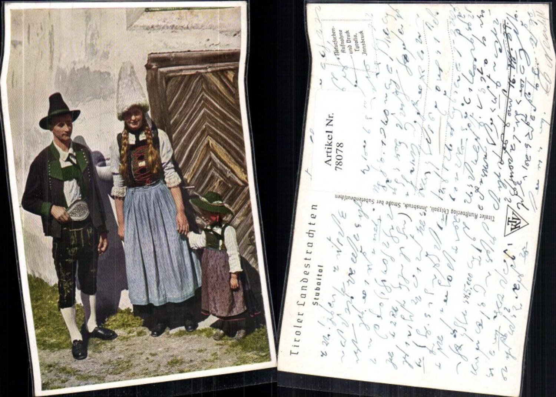 78078,Tiroler Landestrachten Stubaital bei Neustift Ansicht Paar mit Kinder  günstig online kaufen