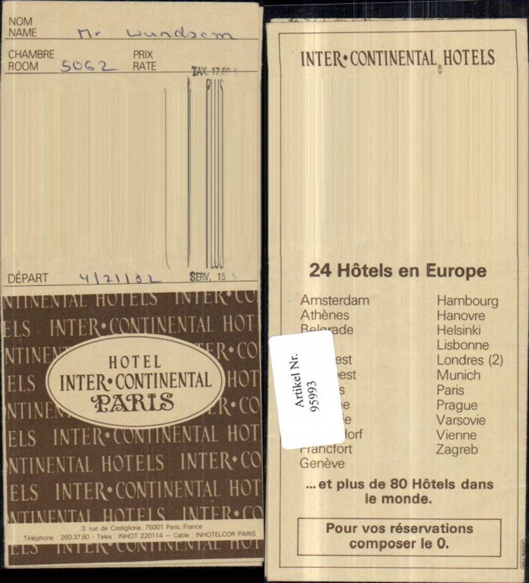 95993,Paris Hotel Intercontinental Zimmerkarte  günstig online kaufen