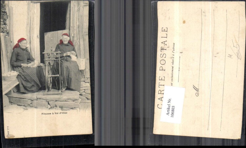 106803,Fileuses a Val d�Illiez Frauen m. Spinnrad Kanton Wallis günstig online kaufen