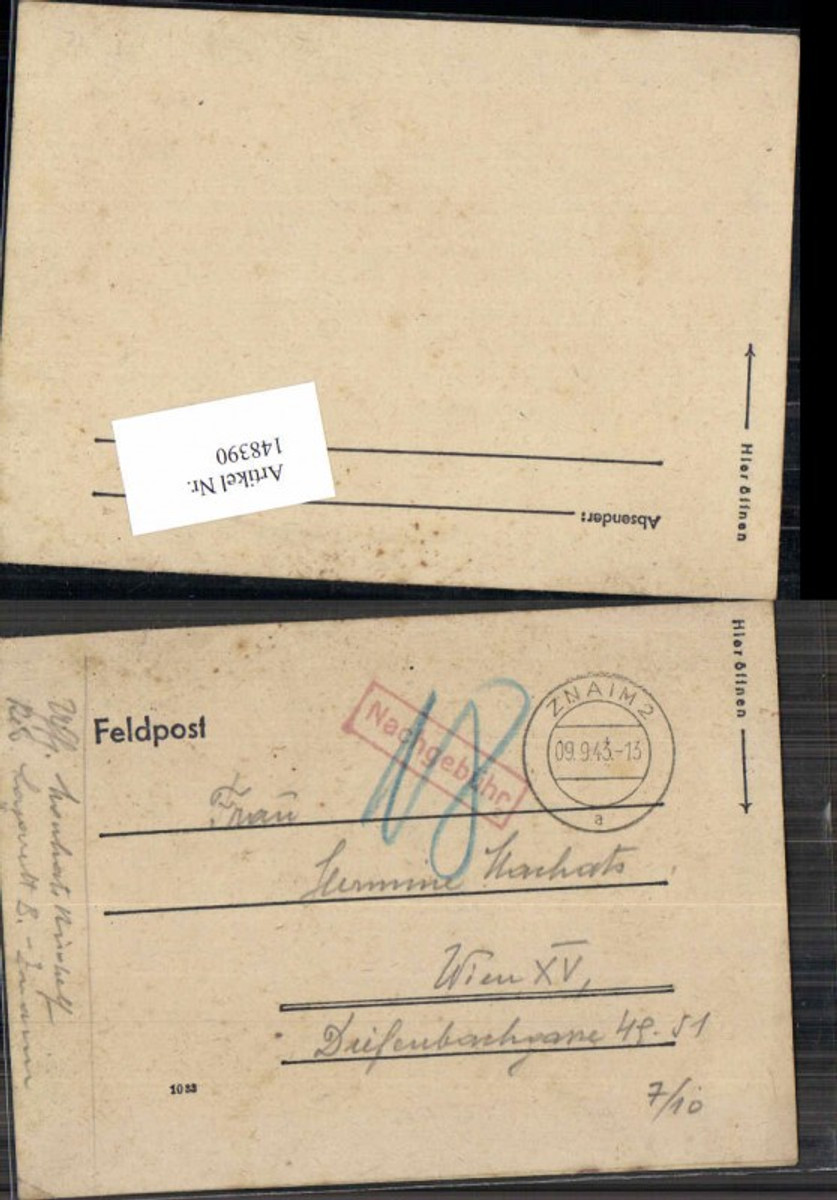 148390,Feldpost 1943 Nachgebühr Znaim nach Wien 15  günstig online kaufen
