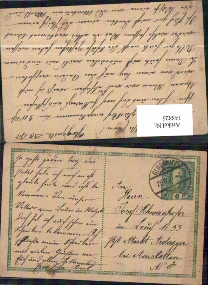 148825,Correspondenz Karte Ganzsache 1917 Gloggnitz n Ardagger günstig online kaufen