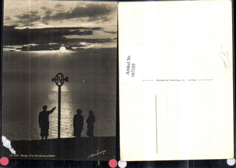 167103,Norge fra Nordkapp plataet Nordkap m. Personen Sonnenuntergang Nordpfeil Insel Mageroya günstig online kaufen