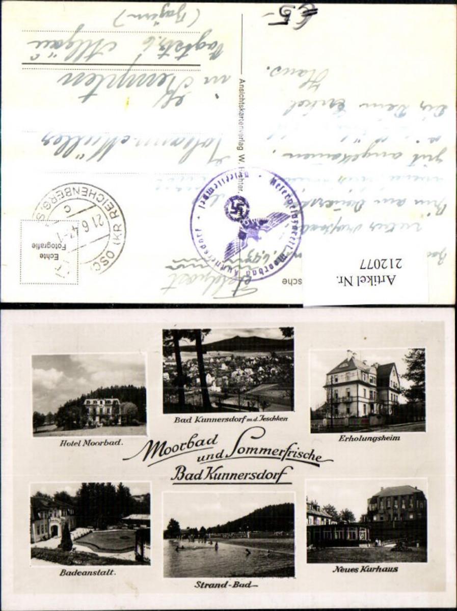 212077,Bad Kunnersdorf Totale m. d. Jeschken Erholungsheim Hotel Moorbad Badeanstalt Strandbad Kurhaus Mehrbildkarte günstig online kaufen