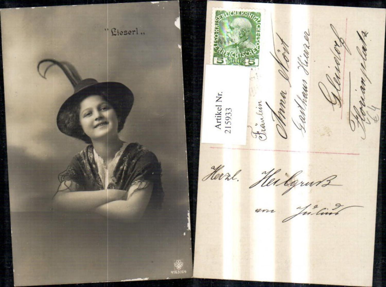 215933,Frau Mädchen Portrait Lieserl Federhut Hut Tracht Schultertuch pub RPH SBW 4163/64 günstig online kaufen
