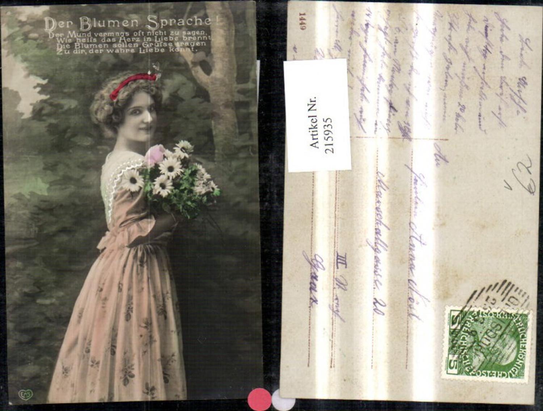 215935,Frau m. Blumen Strauß Der Blumen Sprache Spruch Text pub EAS günstig online kaufen