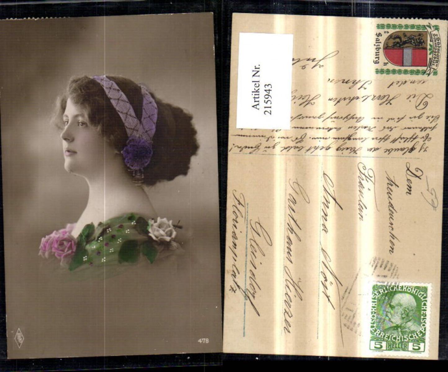215943,Frau Portrait Haarband Haarschmuck Rosen Blumen a. Kleid  günstig online kaufen