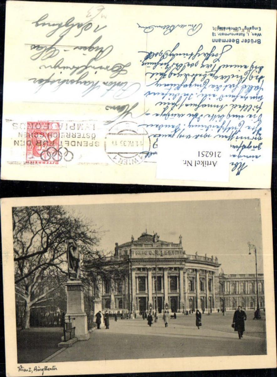 216251,Wien 1 Burgtheater Theater Strassenbahn Ringlinien Denkmal Statue Personen  günstig online kaufen
