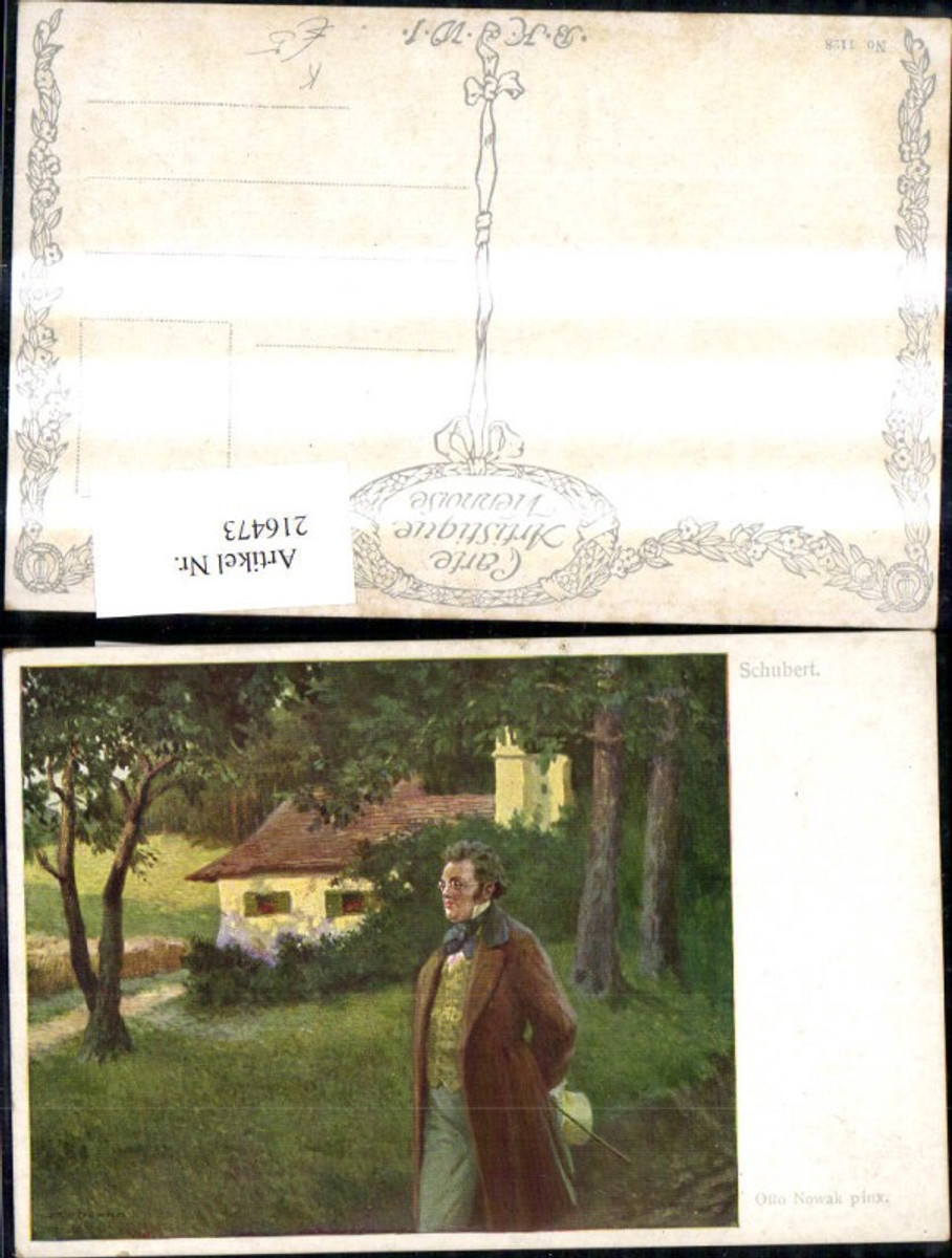 216473,Künstler Ak Otto Nowak Franz Schubert Spaziergang Haus Wald  günstig online kaufen