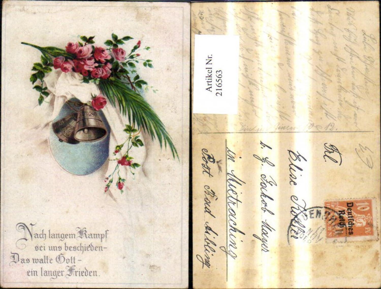 216563,WW1 Glocken Blumen Rosen Palmenzweig Spruch Text Patriotik Propaganda günstig online kaufen