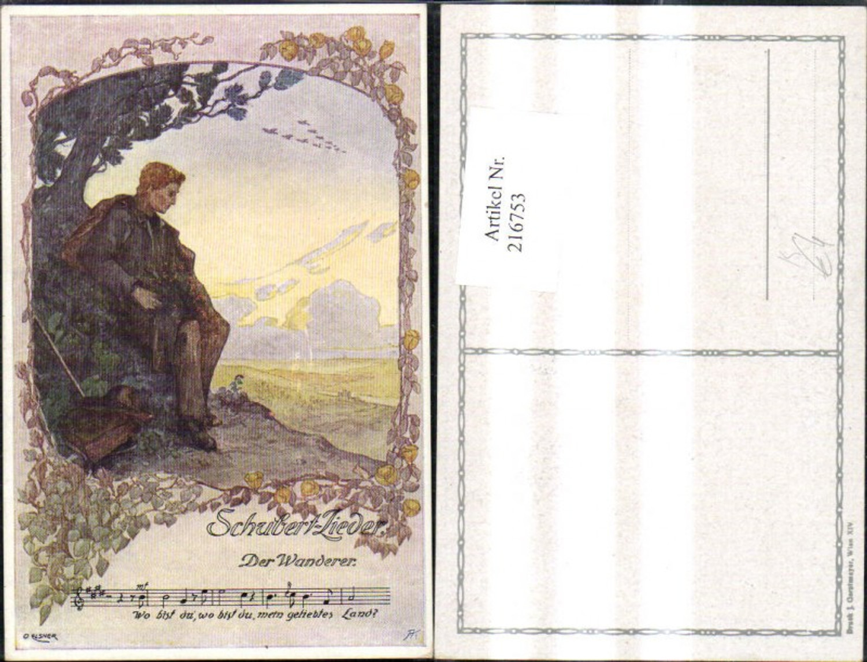 216753,Künstler Ak O. Elsner Schubertlieder Schubert Lieder Der Wanderer Notenzeile Liedtext Liedkarte  günstig online kaufen