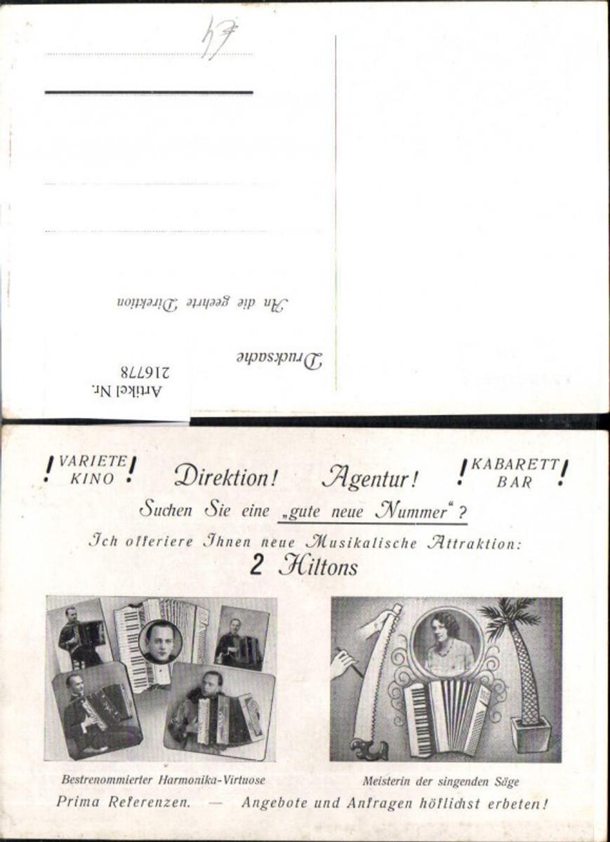 216778,Reklamekarte 2 Hiltons Harmonika-Virtuose Meisterin d. singenden Säge Instrumente Agentur Musik Ziehharmoniker günstig online kaufen