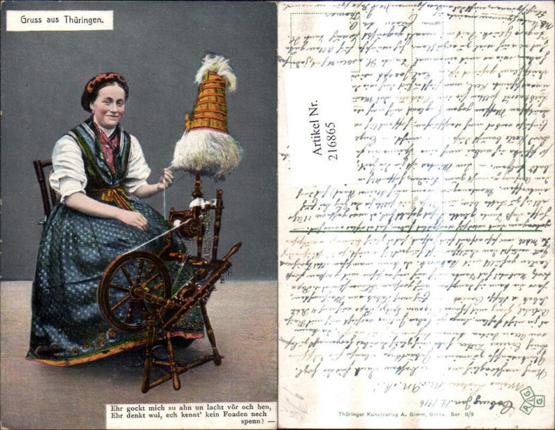 216865,Gruss a. Thüringen Frau Spinnrad Tracht Volkstracht Spruch Text pub A. Grimm II/9 günstig online kaufen