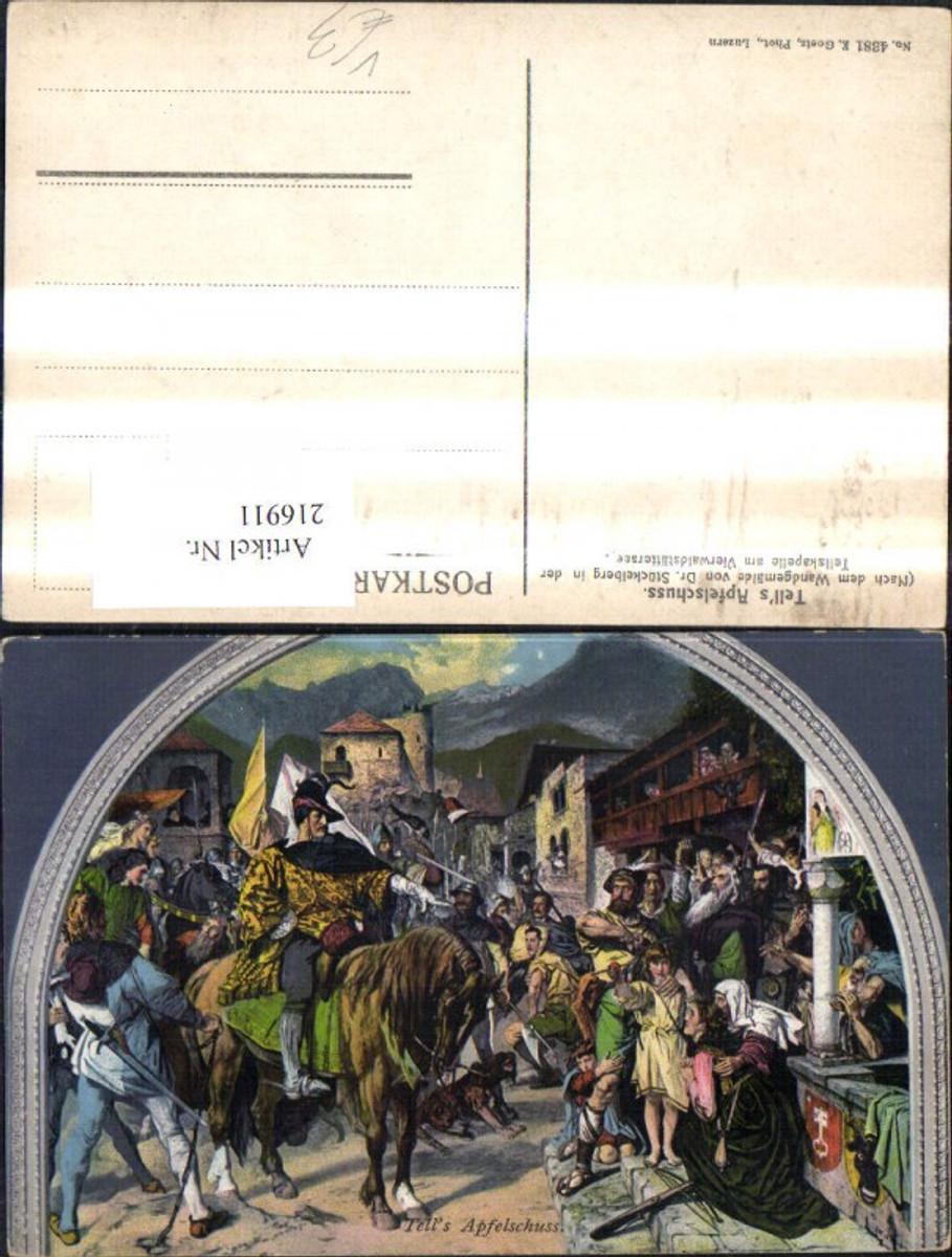 216911,Künstler Ak n. Wandgemälde E. Stückelberg Tells Apfelschuss Wilhelm Tell Märchen Sagen pub E. Goetz 4381 günstig online kaufen