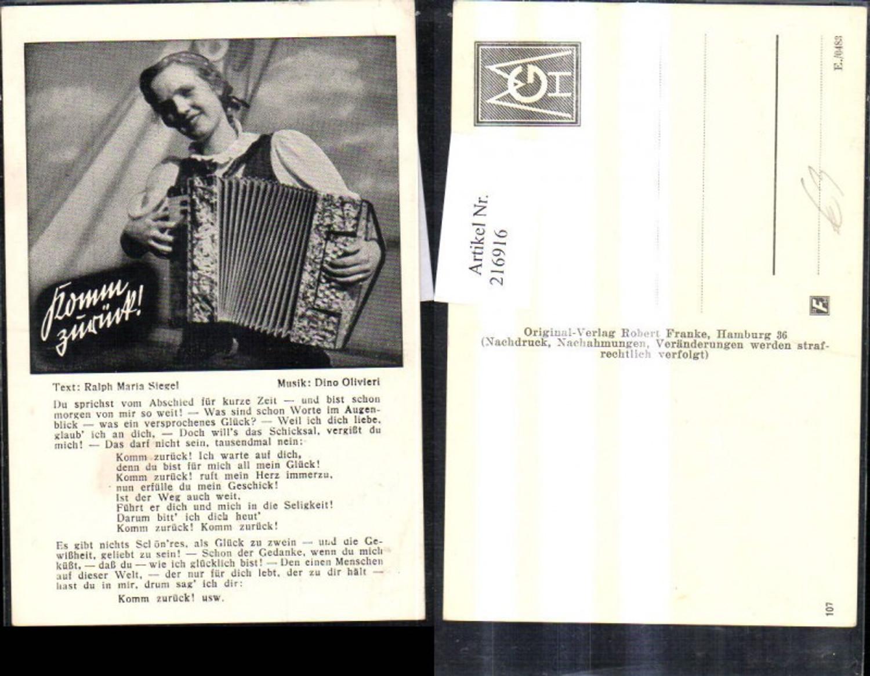 216916,Liedkarte Komm zurück Musik Dino Olivieri Text Ralph Siegel Ziehharmoniker  günstig online kaufen