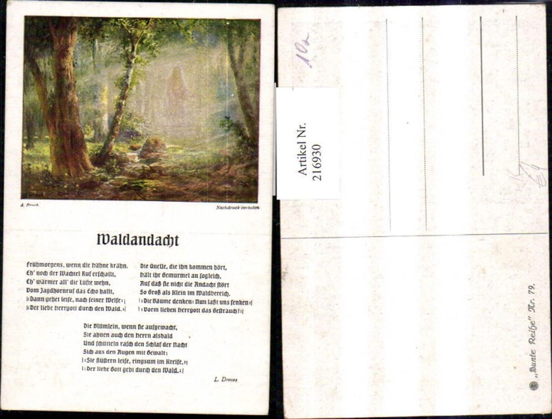 216930,Künstler Ak A. Broch Waldandacht Text L. Dreves Liedkarte günstig online kaufen