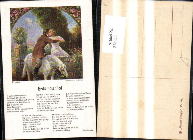 216932,Künstler Ak A. Broch Heckenrosenlied Text Otto Roquetta Liedkarte günstig online kaufen