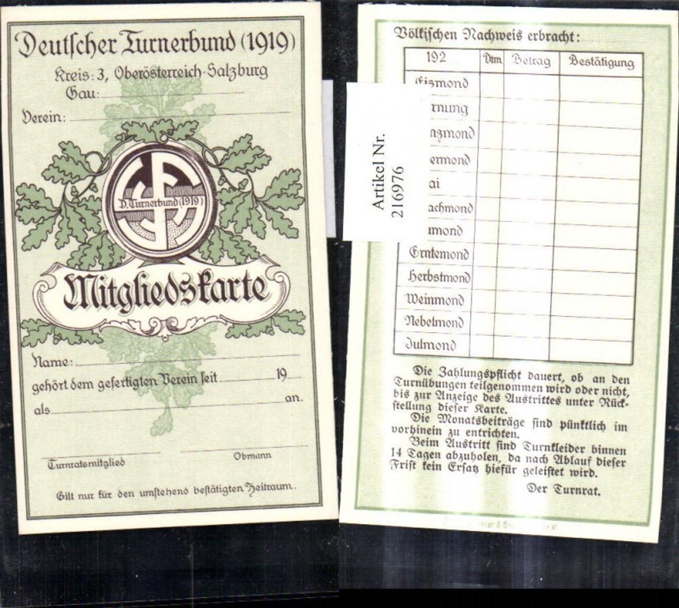 216976,Sport Turnen Mitgliedskarte Deutscher Turnerbund 1919 Oberösterreich Salzburg  günstig online kaufen
