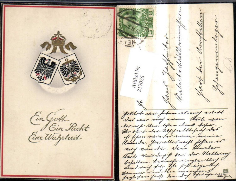 217026,WW1 Wappen Adler Ein Gott Ein Recht Eine Wahrheit Patriotik Propaganda günstig online kaufen
