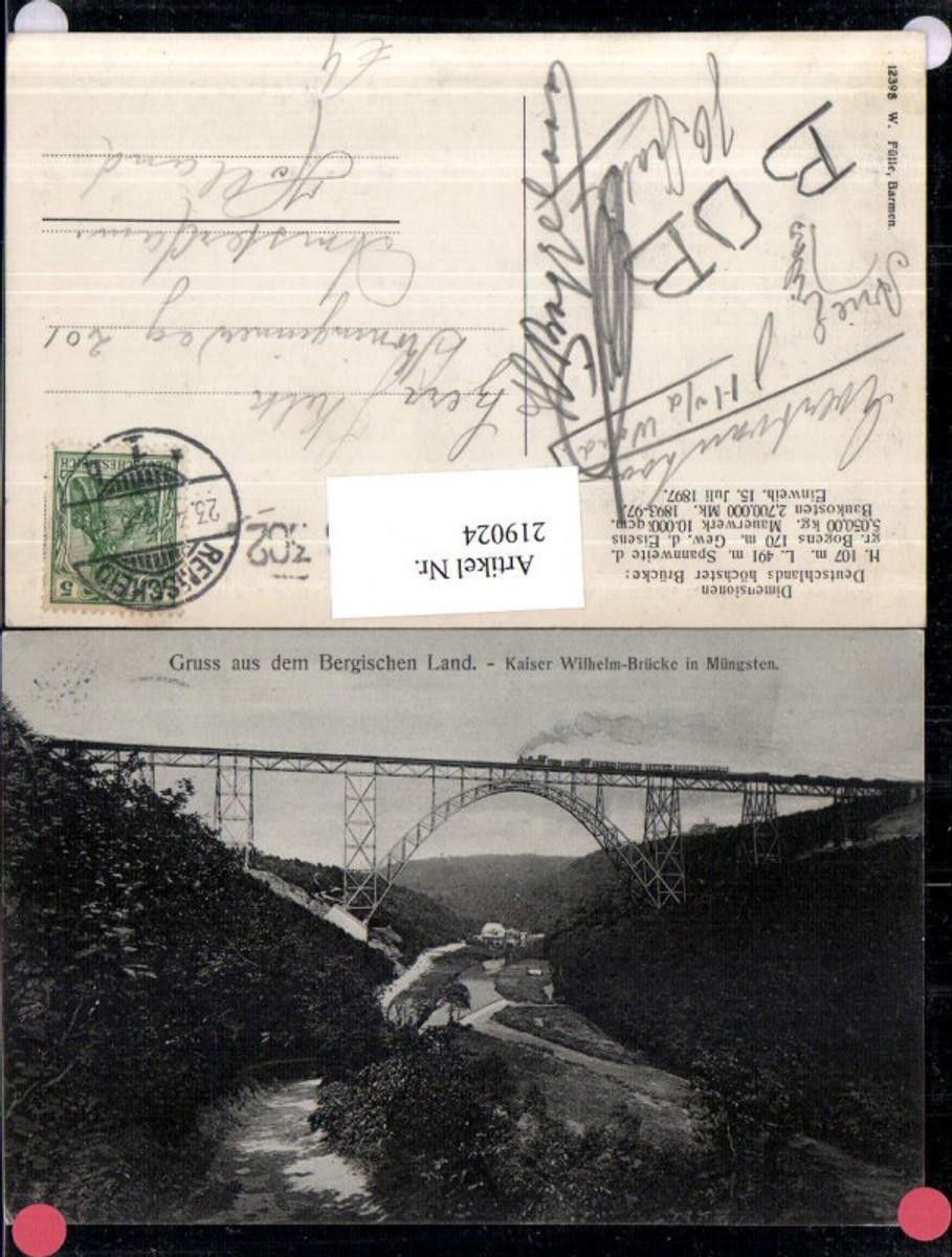219024,Gruß aus d. Bergischen Land Kaiser Wilhelm-Brücke in Müngsten günstig online kaufen