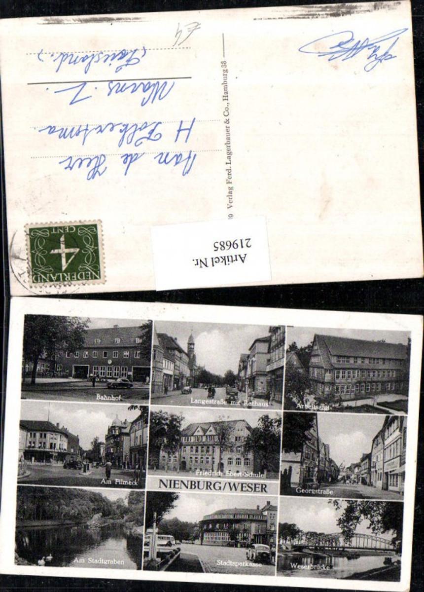 219685,Nienburg a. d. Weser Bahnhof Arbeitsamt Weserbrücke Friedrich Ebert-Schule Straßenansicht Mehrbildkarte günstig online kaufen