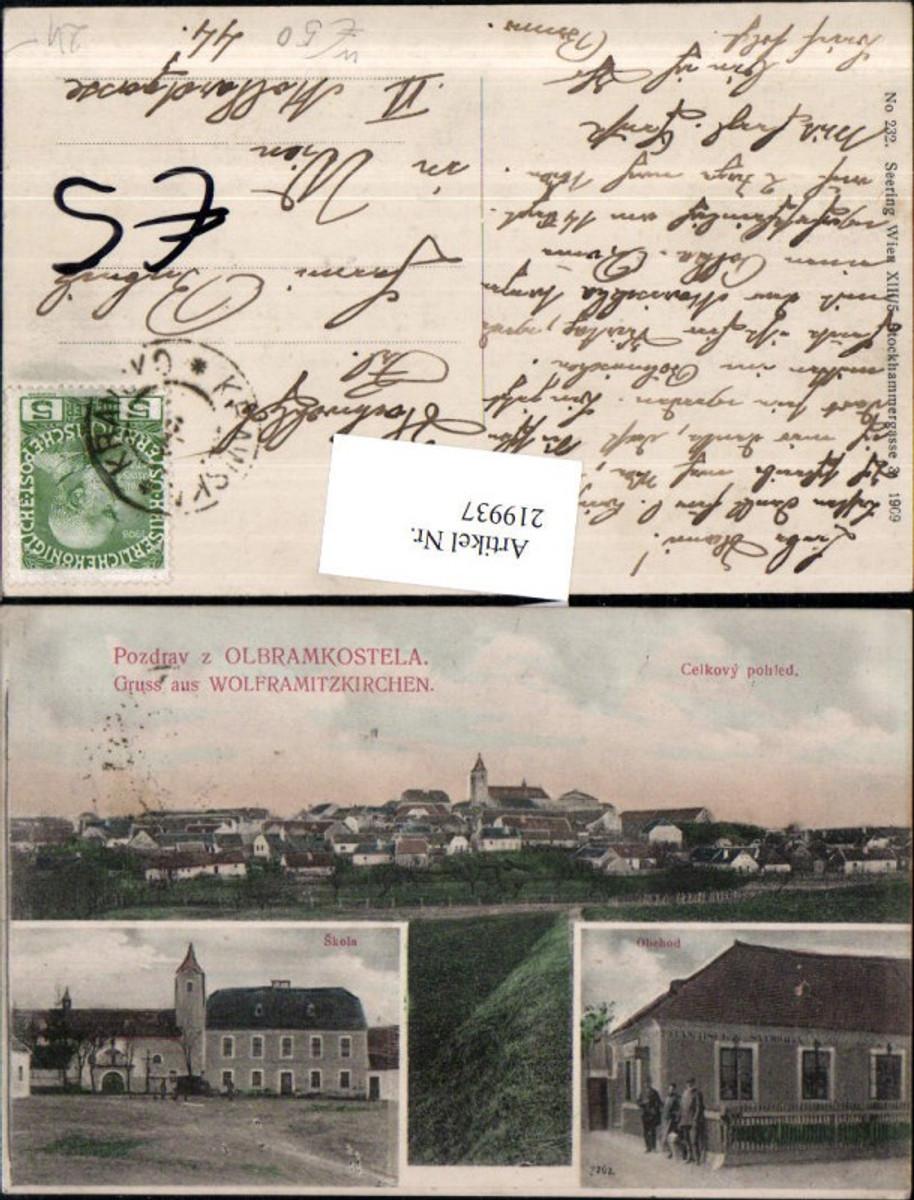 219937,Gruß aus Wolframitzkirchen Olbramkostela Totale Skola Obehod Mehrbildkarte günstig online kaufen