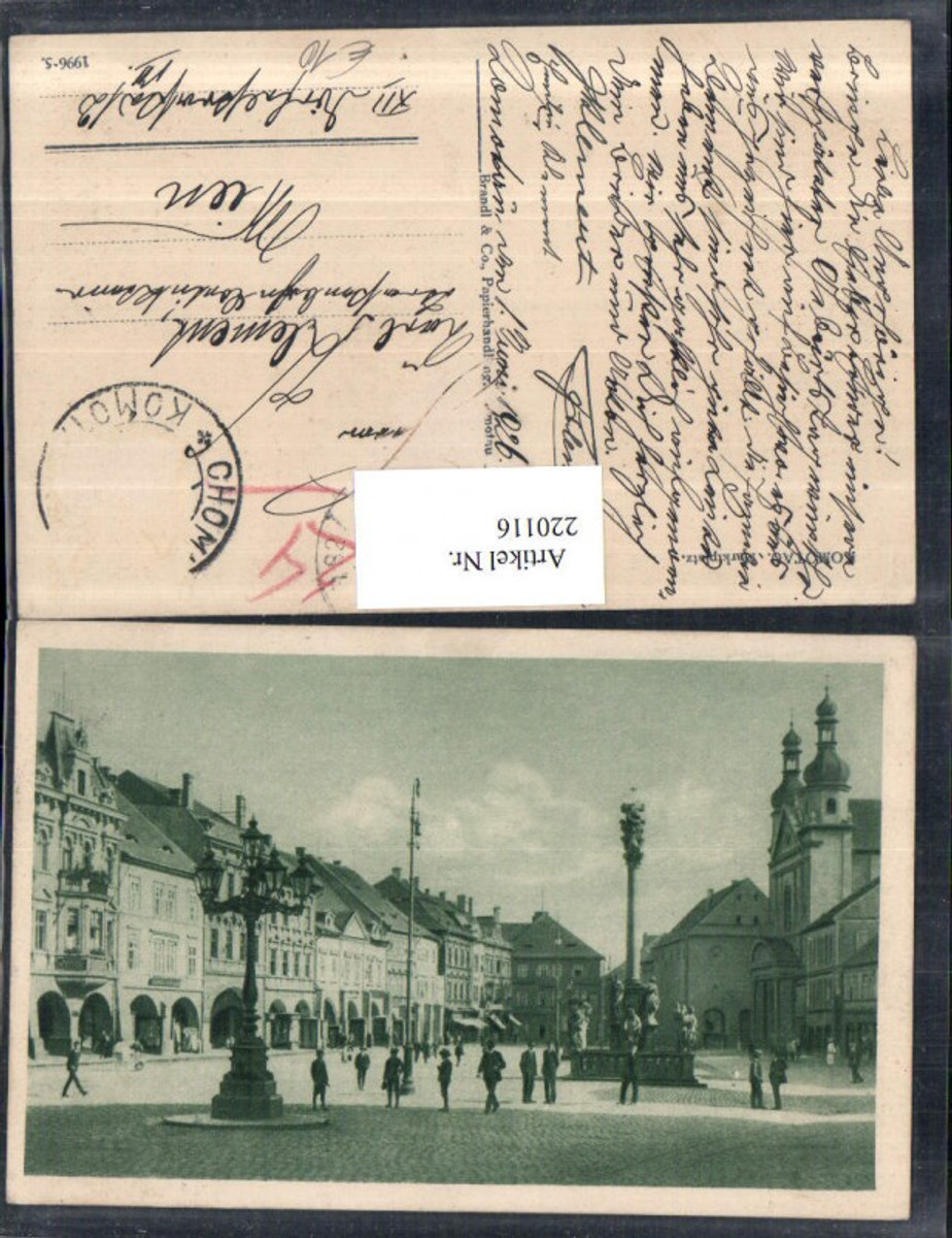 220116,Komotau Chomutov Marktplatz Platz Säule Kirche günstig online kaufen