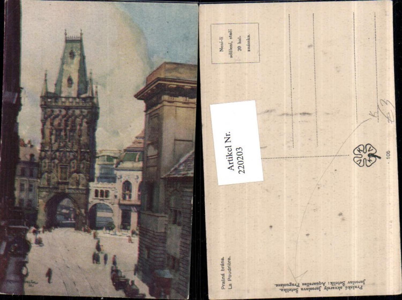 220203,Künstler Ak Jaroslava Setelika Prag Praha Prasna brana Pulverturm Turm günstig online kaufen
