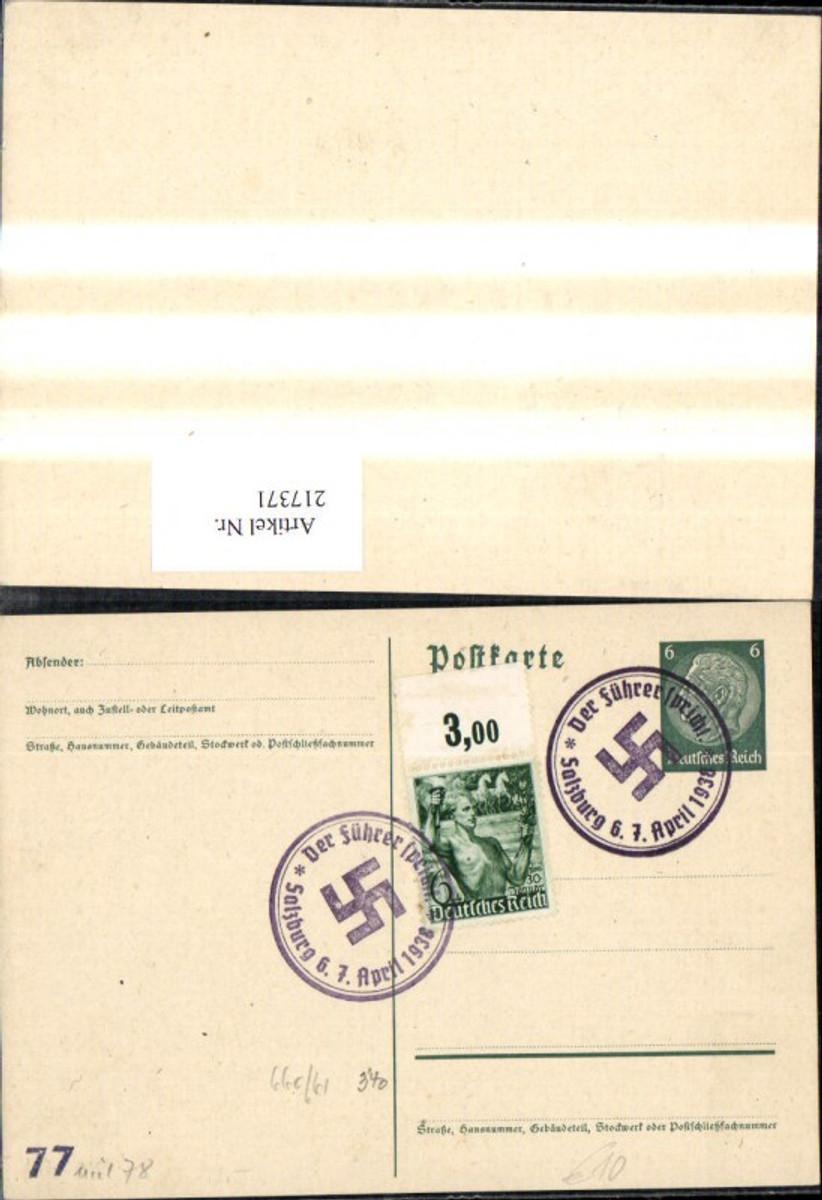 217371,WW2 Ganzsache Propaganda Sonderstempel Der Führer spricht 6. 7. April 1938 Salzburg  günstig online kaufen