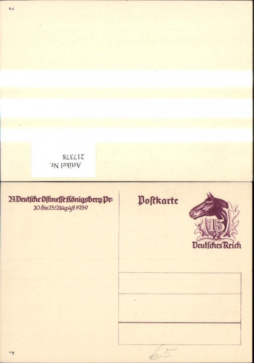 217378,WW2 Ganzsache 27. Dt Ostmesse Königsberg Ostpreußen August 1939 günstig online kaufen