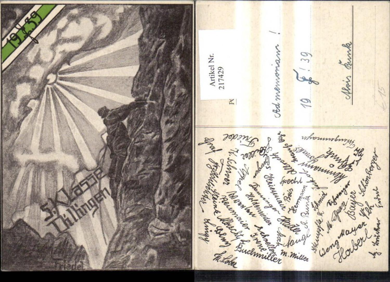 217429,Studentika Künstler Ak Friedel 5. Klasse Dillingen 1939 Bergsteiger Berg  günstig online kaufen
